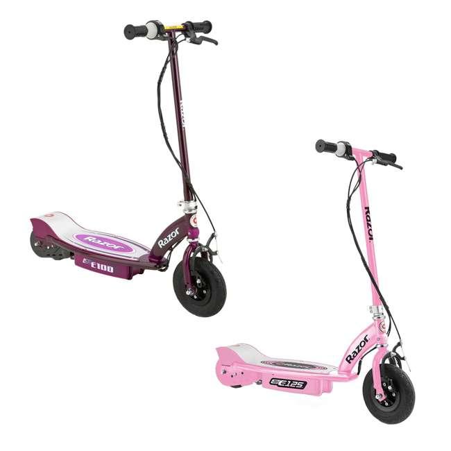 13111163 + 13111250 Razor Electric Motorized Kids Scooters, 1 Pink & 1 Purple