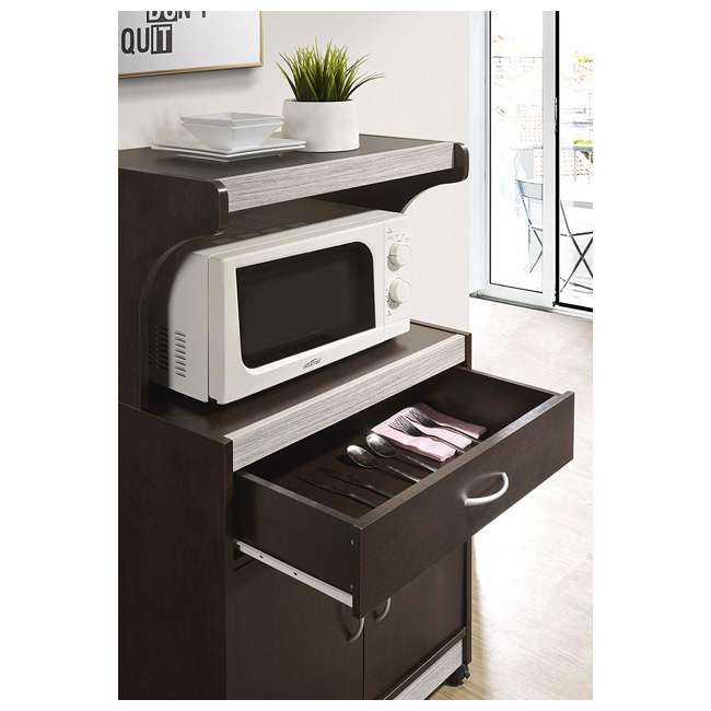 HIK72 CHOCO-GREY  Hodedah Wheeled Microwave Cart with Drawer and Cabinet Storage, Chocolate Grey 4