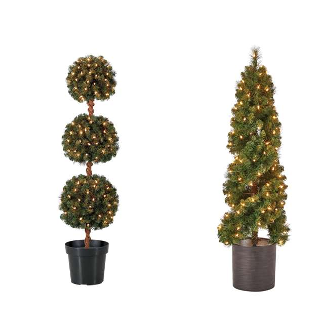 TP40M2W72C09 + TS40M3K08C01 Home Heritage 4 Foot Artificial Tree w/ Lights + 4 Ft Spiral Pine Tree w/ Lights