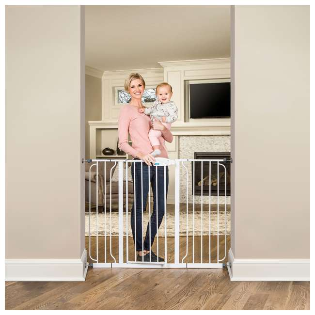 1154DS-U-A Regalo Metal Frame Adjustable WideSpan Extra Tall Baby Gate, White (Open Box) 4
