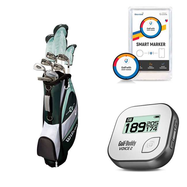 WGGC43800 + GB7-VOICE2-GREY + PGSMGps Wilson Golf Clubs & Golf Buddy Range Finder & Golfwith Smart Marker
