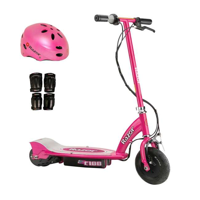13111261 + 97783 + 96785 Razor E100 Kids Motorized 24 Volt Electric Scooter with Helmet and Elbow and Knee Pads