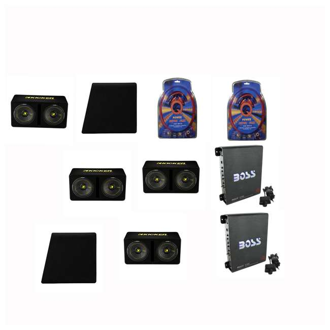 2x4GAMPKIT-SFLEX +44DCWC122 +2x R1100M +2x BCAP2.2 Q Power Wiring Kit (2 Pack) & Box & Boss Mono (2 Pack) & Capacitor (2 Pack)