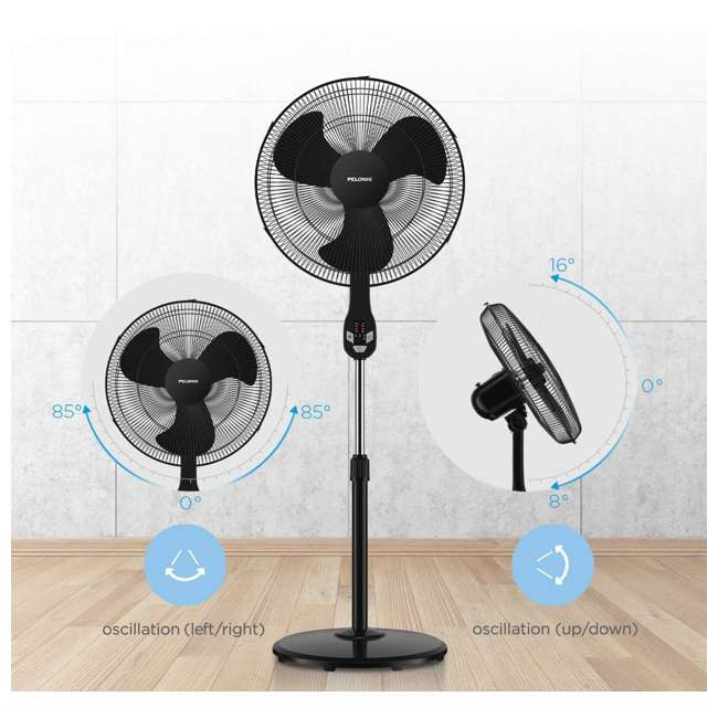 "FS45-18UR PELONIS FS45-18UR 18"" 3-Speed Oscillating Pedestal Fan with LED Display, Black 2"