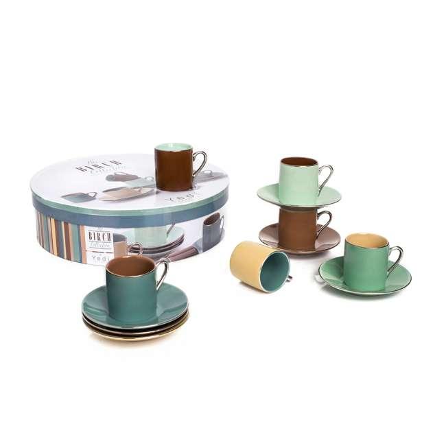 CC202 Espresso Porcelain Birch Cups & Saucers (Set of 6)