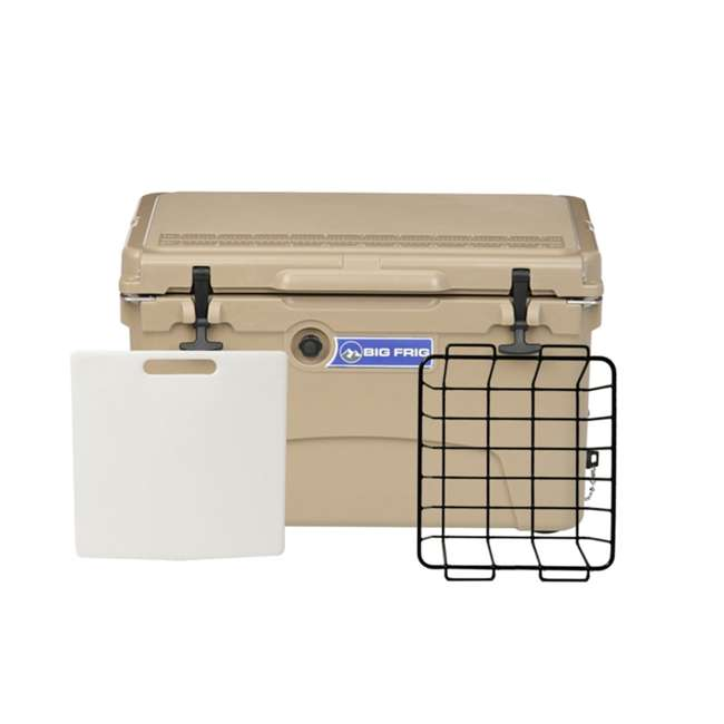 BFDB45-SD Big Frig Denali 45 Quart Insulated Cooler with Cutting Board and Basket, Sand