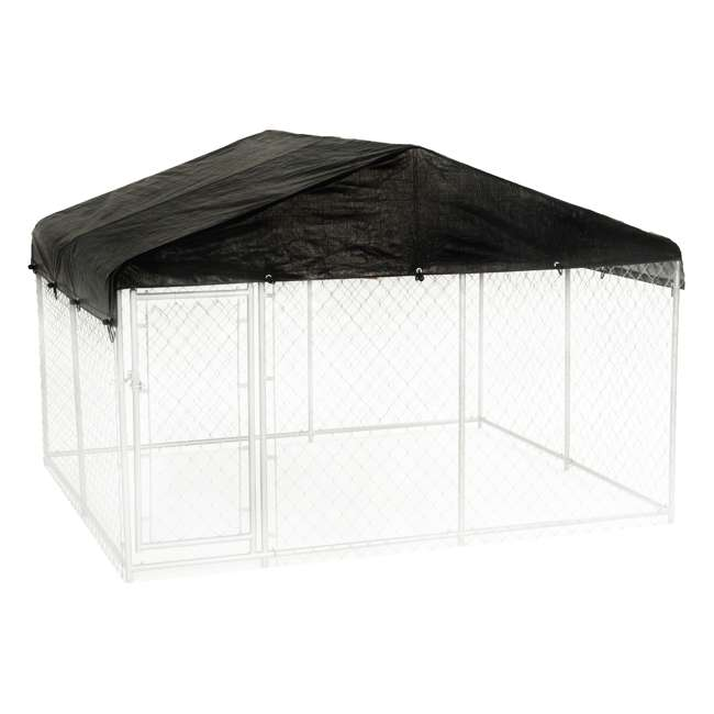 CL-61528EZ + CL-00303 Lucky Dog 10 x 10' Outdoor Dog Kennel & Waterproof Roof Cover