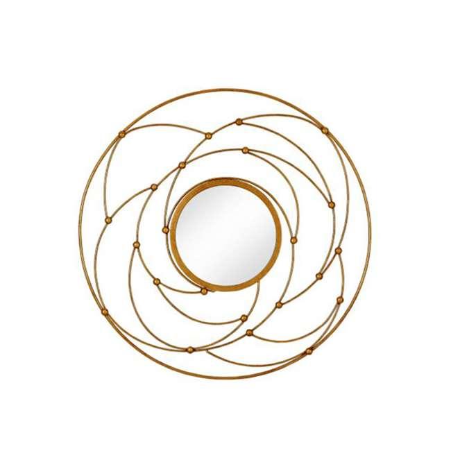2641-P Majestic Mirror Round Contemporary Gold Leaf Metal Decorative Accent Mirror