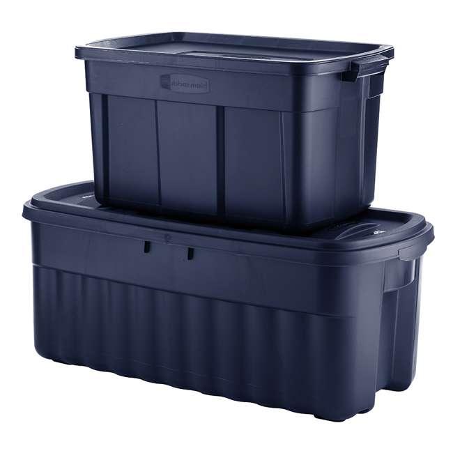 RMRT500007-4pack Rubbermaid Roughneck 50 Gallon Storage Tote, Dark Indigo Metallic (4 Pack) 4