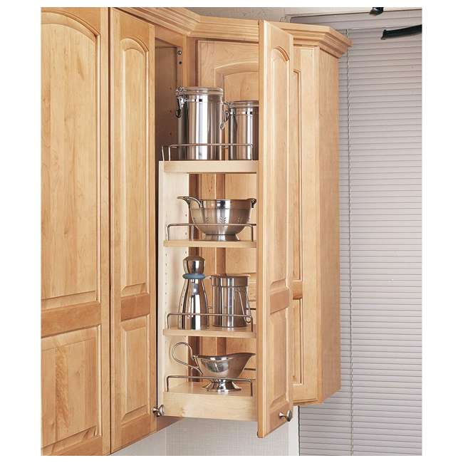 448-WC-8C Rev A Shelf 8 Inch Pull Out Wood Base Kitchen Cabinet Organizer 1