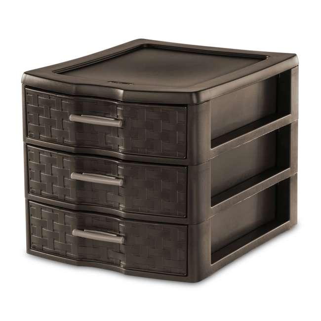 8 x 23436P04-U-A Sterilite Medium Weave Craft 3 Drawer Storage Organizer, Brown(Open Box)(8 Pack)