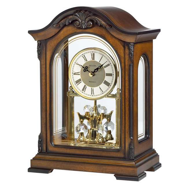 B1845 Bulova Clocks Durant Walnut Wood and Glass Revolving Pendulum Clock