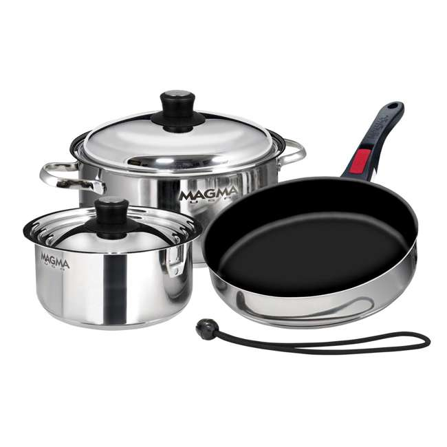 A10-363-2-IND Magma Products 7 Piece Nested Stainless Steel Non Stick Oven Safe Cookware Set