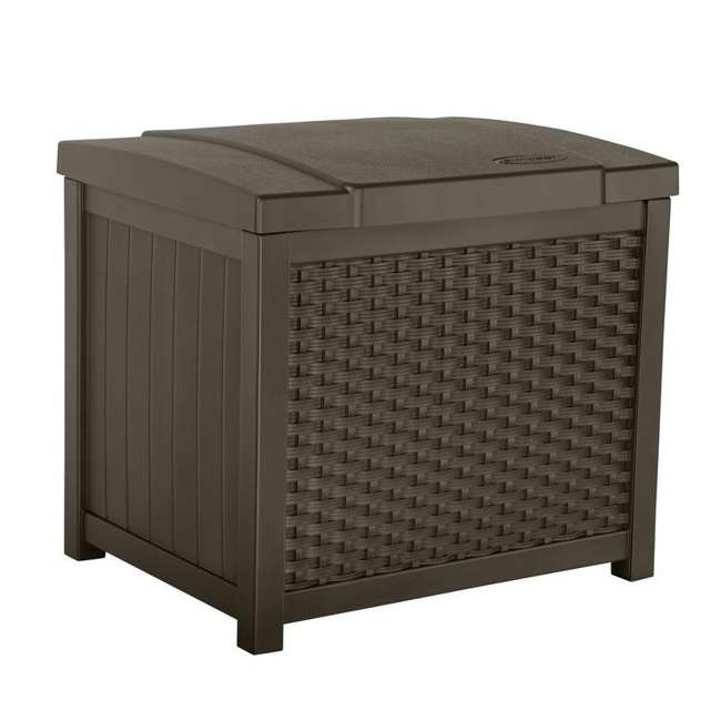 SSW900 + DBW9200 Suncast 22 Gallon Wicker Deck Box w/ Suncast 99 Gallon Wicker Resin Deck Box 1
