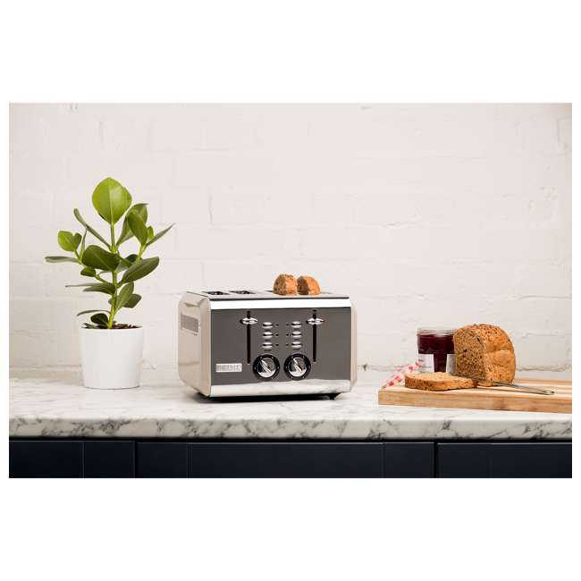 75011 Haden 75011 Cotswold Wide Slot Stainless Steel Retro 4 Slice Toaster, Beige 2