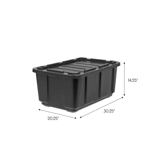 4 x 589090 IRIS USA 589090 27 Gallon Utility Tough Stackable Plastic Storage Tote, Black 6