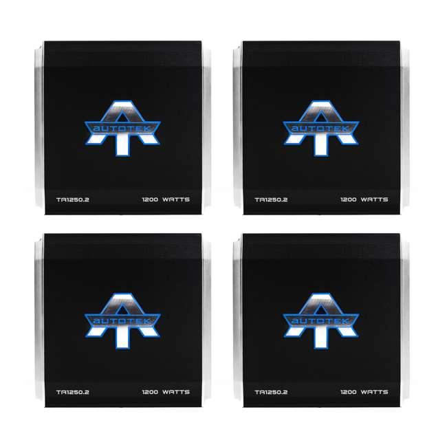 4 x TA1250.2 Autotek 1200W 2 Channel Amplifier Stereo Class A/B Power Amp (4 Pack)