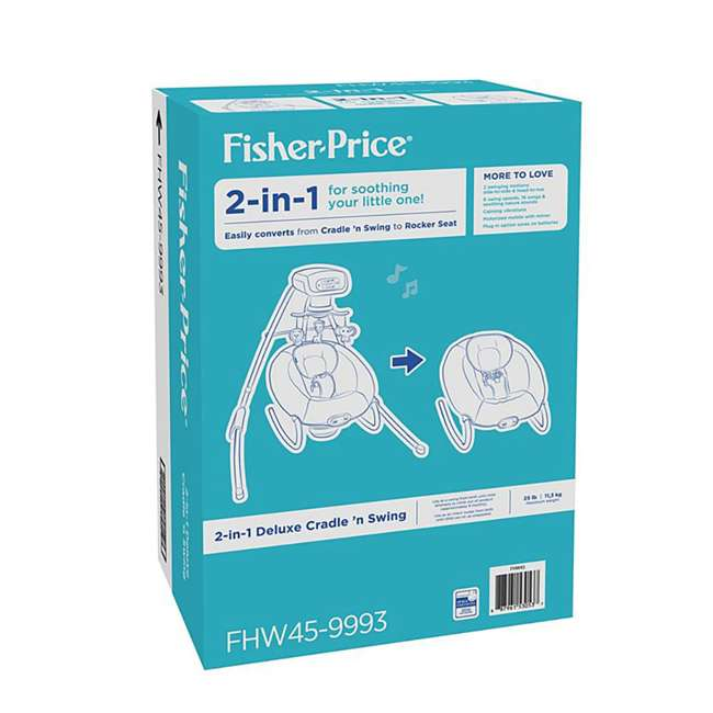 FHW45 Fisher Price 2 In 1 Deluxe Baby Cradle N Swing Rocking Seat Rocker Chair Bouncer 6