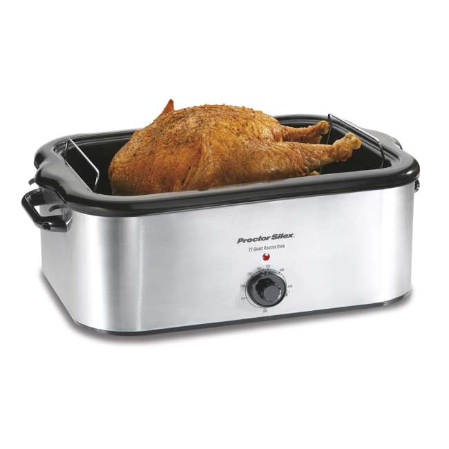 32230A + FPSTEK2802 Proctor Silex 22-Quart Stainless Steel Roaster Oven and Electric Knife Kit 2
