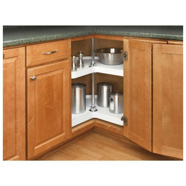 6472-18-11-52 Rev-A-Shelf 6472-18-11-52 18-Inch Polymer 2-Shelf Kidney Lazy Susans, White 2