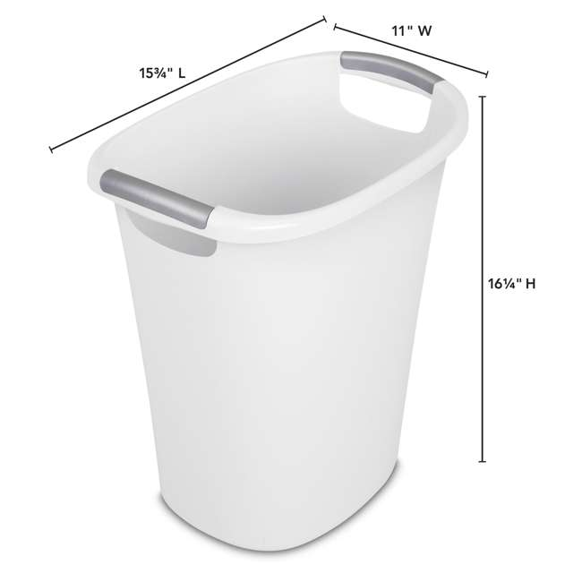 6 x 10638006 Sterilite 6 Gallon White Ultra Wastebasket Trash Can, 6 Pack  3