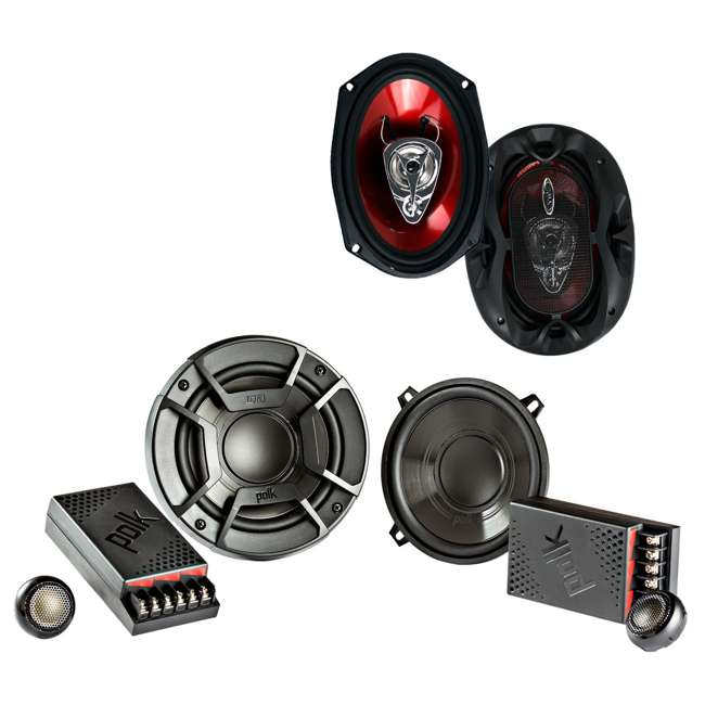 "DB5252 + CH6930 Polk Audio 5.25"" 300 Watt 2 Way + Boss 6x9"" CH6930 3-Way Speakers"