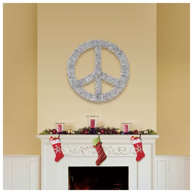 TR1AAB032X01 Home Heritage 22 Inch Unlit Artificial Holiday Christmas Peace Sign Door Wreath 1