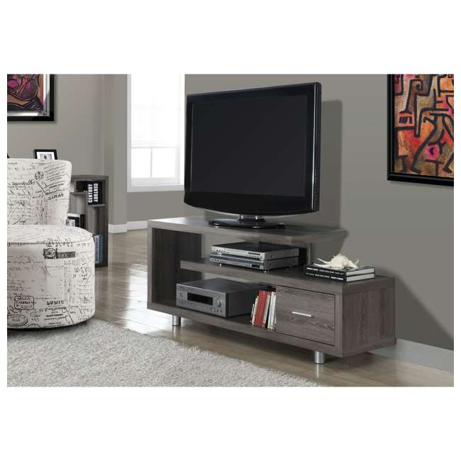 MS-VM2574-U-B Monarch Specialties 60 Inch Art Deco TV Stand with 1 Drawer, Dark Taupe (Used) 2