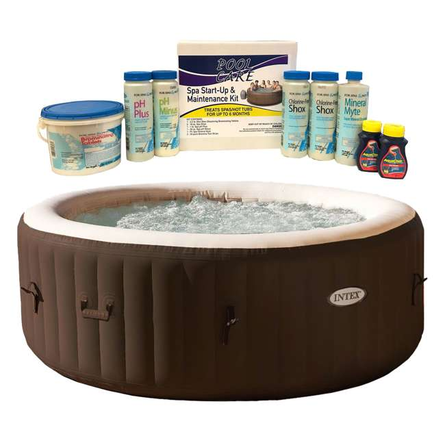 28403VM + QLC-14895 Intex PureSpa 4 Person Inflatable Spa & 6 Month Chemical Kit