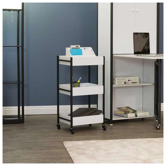 10225 Studio Designs Home 3 Bin Mobile Storage Organizing Cart with White Containers 3