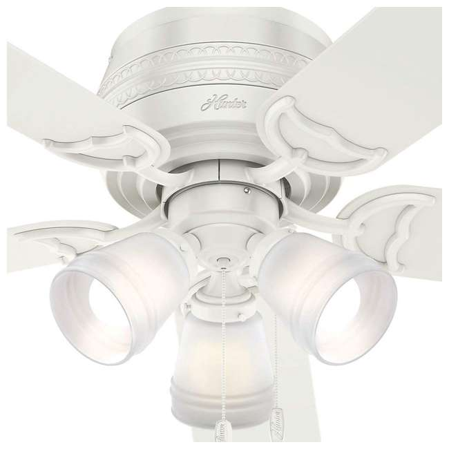 53385 Hunter Fan Company Prim Low Profile 52-Inch Ceiling Fan w/ 3 LED Lights, White 3