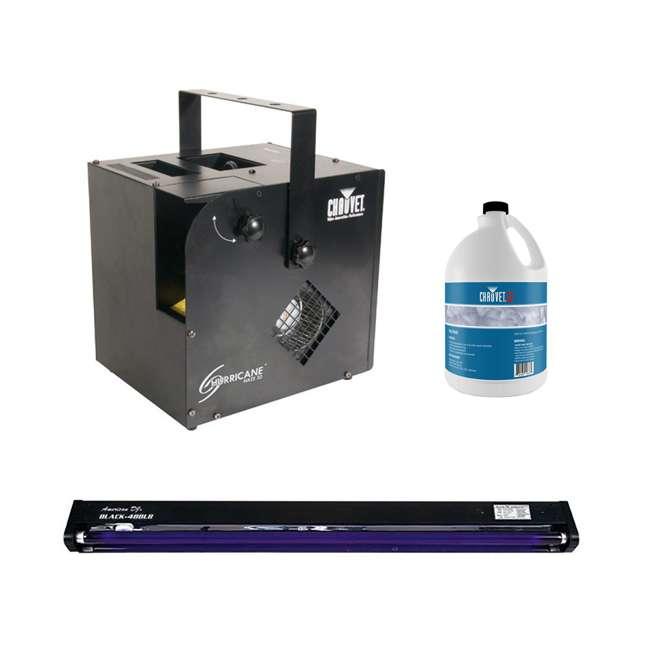 HURRICANE-HAZE2D + BLACK-48BLB + FJU Chauvet DJ Hurricane Haze 2D Water Smoke/Fog Machine, Black Light, & Fog Juice