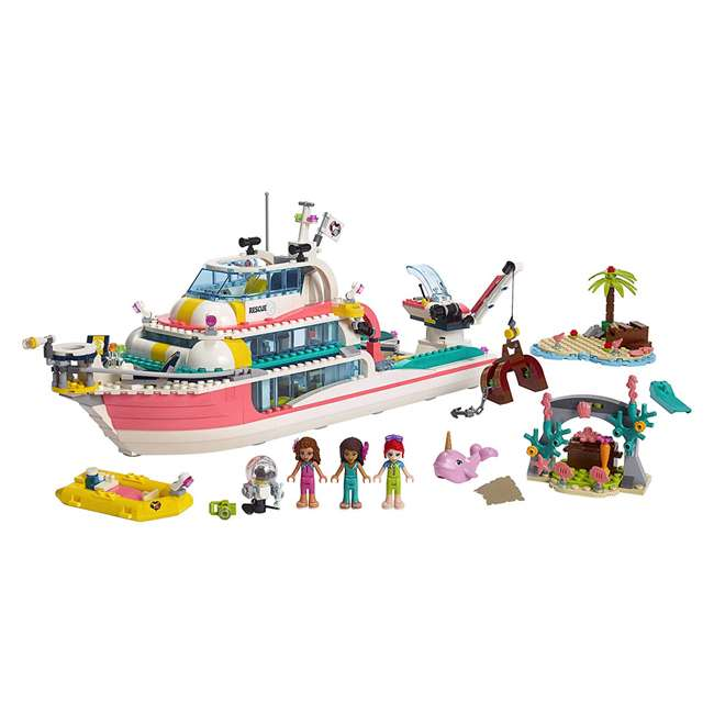 6251666 LEGO Friends Rescue Mission Boat 908 Piece Block Building Kit with 5 Minifigures