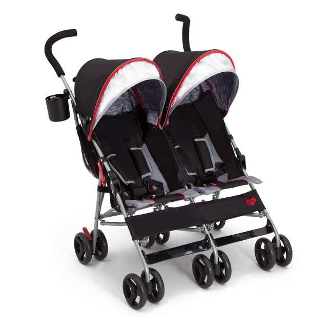 11709-2246 Delta Children LX Plus Side x Side Lightweight Double Stroller, Red Triangular