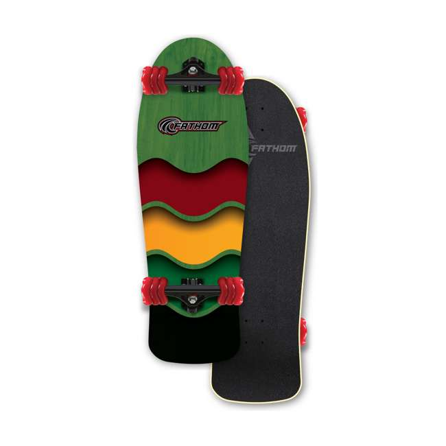 T8-3307 + 08286-SHARK Triple 8 Gotham Bike & Skate Helmet + Fathom Shark Wheel Rasta Cruiser Longboard 7