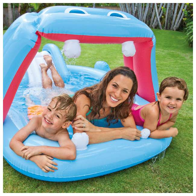 57150EP Intex 87in x 74in x 34in Inflatable Hippo Play Kids Pool Slide And Sprayer(Used) 3