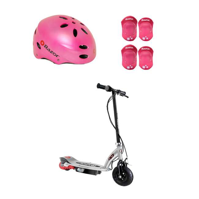 13125E-BK + 97783 + 96783 Razor E125 Electric Rechargeable Scooter + Bicycle Helmet + Elbow & Knee Pad Set
