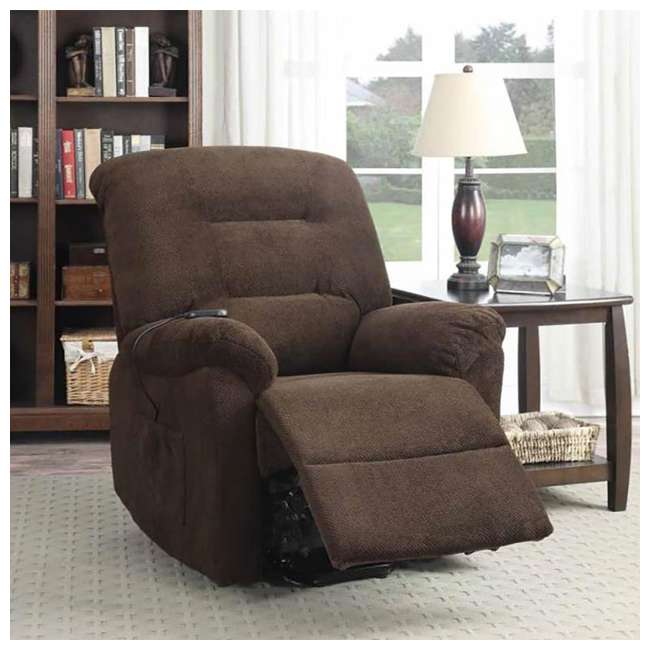 600397ii Coaster Home Furnishings Remote Power Lift Recliner, Chocolate 3