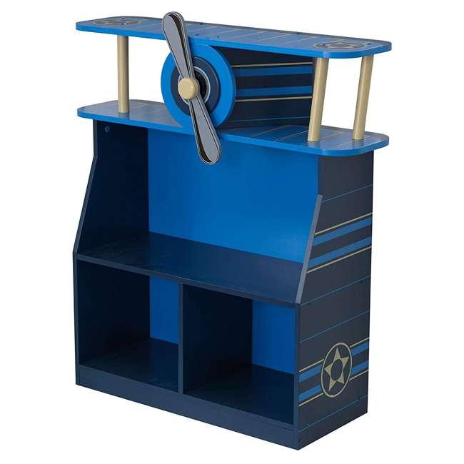 76270 KidKraft Toddler Kids Airplane Wooden 4 Shelf Book/Toy Bookshelf Bookcase, Blue