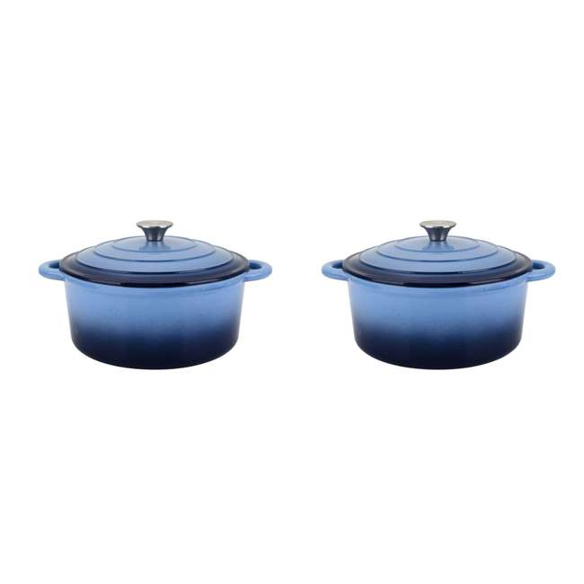 HAR112 Hamilton Beach 5.5-Quart Enameled Dutch Oven Pot, Blue (2 Pack)