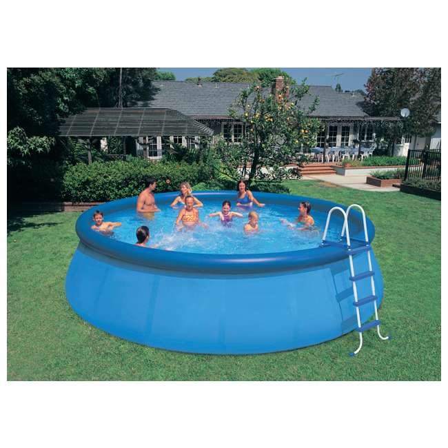 26175EH + QLC-42003 Intex 18 x 4 Foot Inflatable Easy Set Pool w/ Ladder, Pump, & Cleaning Kit 5