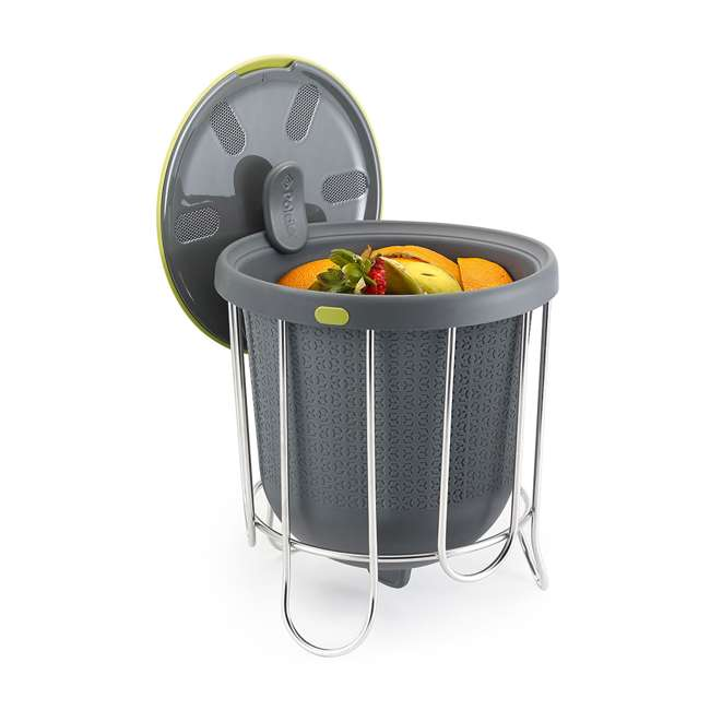 KTH-1415-425 Polder Indoor Portable Kitchen Composter with Stand, Gray (2 Pack) 3