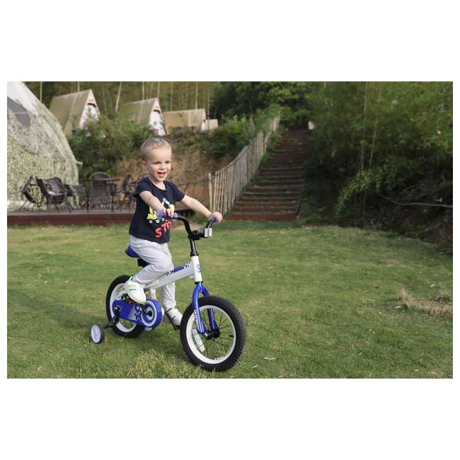 BIKE029wh-16 JOYSTAR Whizz Series 16-Inch Ride On Kids Bike w/ Training Wheels, White & Blue 3
