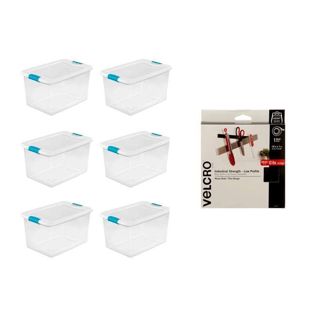 6 x 14978006 + 91100 Sterilite 64 Qt Storage Container (6 Pack) + VELCRO® Brand 1 Inch Fastener Roll