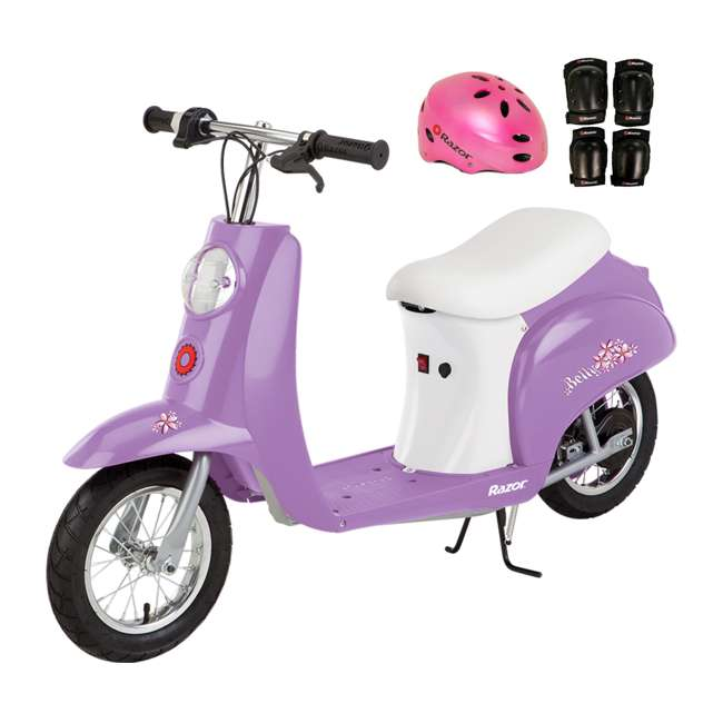 15130661 + 97783 + 96785 Razor Pocket Mod Betty Electric Scooter (Purple) with Helmet, Elbow & Knee Pads