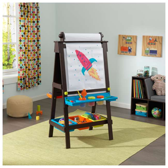 62043 KidKraft Kids Chalkboard & Whiteboard Art Easel with Paper Roll, Espresso 6