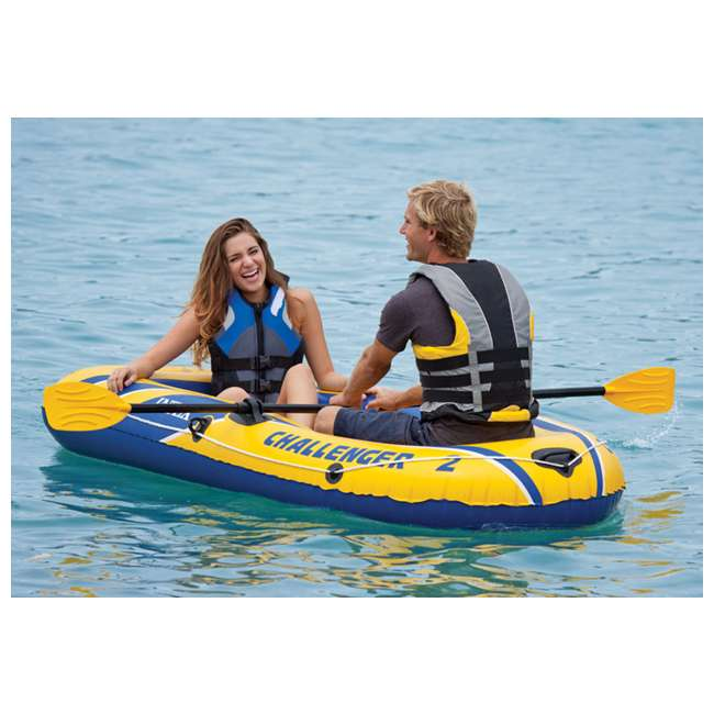 68367EP-U-A INTEX Challenger 2 Inflatable Boat Set with Air Pump & Oars (Open Box) (2 Pack) 4