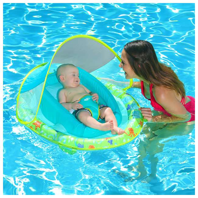 6 x 11554-SW-U-A SwimWays Inflatable Baby Spring Swimming Pool Float w/ Canopy (Open Box)(6 Pack) 1