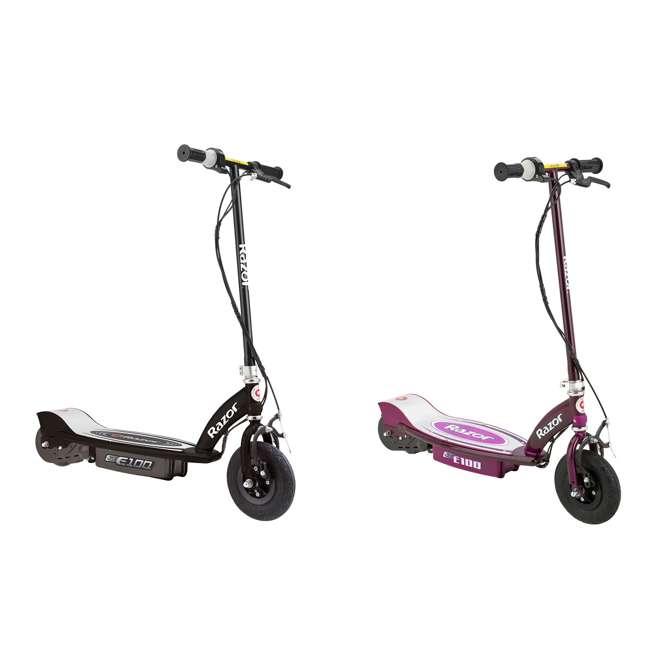 13110097 + 13111250 Razor E100 Kids Motorized 24V Powered Ride On Scooter, Black & Purple (2 Pack)