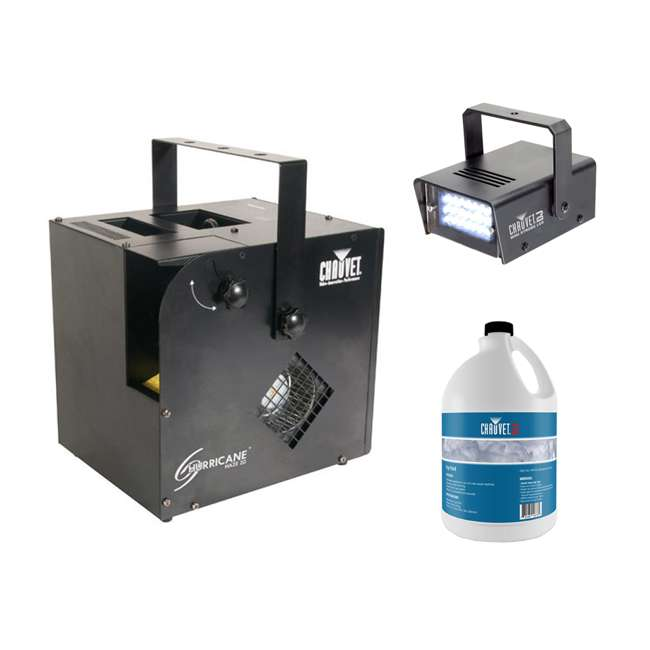 HURRICANE-HAZE2D + FJU + MINISTROBE-LED Chauvet DJ Hurricane Haze 2D Fog Machine w/ Remote, Fog Juice, & Strobe Light